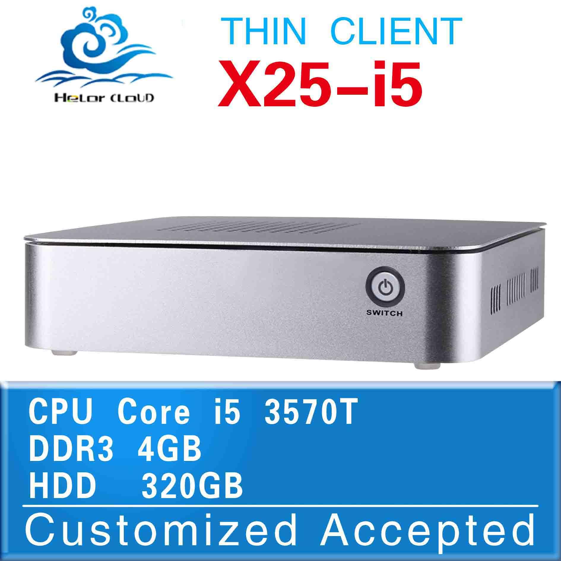 Fan Design x25-i5 intel i5 2390T mini pc linux hdmi desktop computer case 4gb ram 320gb ssd thin client support screen movies(China (Mainland))