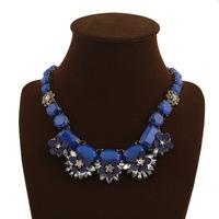 Free shipping 2014 new fashion retro deep blue rhinestones pendant choker necklace women flowers chunky necklace
