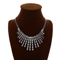 Free shipping 2014 hot sale retro black gem pendant choker necklace women inlaid alloy tassel chunky necklace