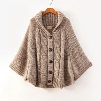 2014 fall fashion and the wind bat nine Quarter Sleeve cloak knit cardigan sweater jacket casual tide