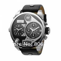 Hot selling 2014 top fashion Multiple Time Zone Brand Men Leather Strap Watch men's quartz watches DZ 7125 Brand watch DZ7125