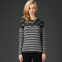 2014 Autumn Star Striped American Flag Long Sleeve Women Tops Knitwear Rabbit Wool Sweater Jumper Pullovers HY-40838