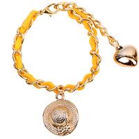 2014New design charm bracelet golden chain straw hat charm bracelet holiday bracelet