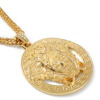 9.13 NKG059 2014 NEW Cool ,24K Real Gold Plating, 2 COLOR Men's Hip Hop Medusa Copper Pendant & Necklace, man men Jewelry