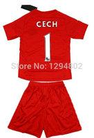 Thailand Quality Youth 14/15 #1 Cech Red Goalkeeper Jerseys Soccer Jersey 2014-2015 Kids Uniforms Jersey Size 16-28