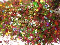 Christmas Red and Green Nail glitter for Nail Polish Mix