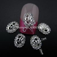 MNS609  Glitter rhinestone 3d nail art silver flower nail decorations new arrive 50pcs