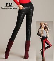 Patchwork Red Black Blue PU Leather Pants Casual Plus Size Clothing Women Fleece Skinny Pencil Pants & Capris Winter XXXL 3XL