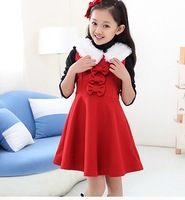 The new! 2014 autumn and winter fashion girls bow hair collar dress free shipping