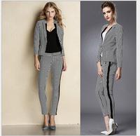 High quality 2014 autumn new fashion women suit black and white striped coat + pant slim cotton suit