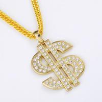 9.13 NKG061 2014 NEW Cool ,24K Real Gold Plating, 2 COLOR Men's Hip Hop Dollars Copper Pendant & Necklace, man men Jewelry
