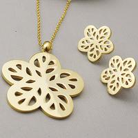 Cute flower stud earrings/necklace 55cm chain women hollowing jewellery set wholesale stainless steel free shipping