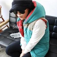 2014 new arrival fashion down vest women plus size cardigans sleeveless cotton vest with hood,Coat M-XXL#C49702
