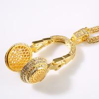 9.13 NKG058 2014 NEW Cool ,24K Real Gold Plating, 2 COLOR Men's Hip Hop Earphone Copper Pendant & Necklace, man men Jewelry