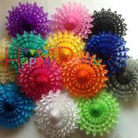 "Free shipping 12"" ( 30 cm ) paper Fan 20 pcs wedding party decoration flower colorful De-Forest honeycomb fan"