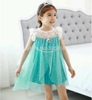 2015 new 1 PC Baby girls fashion lace dresses/kids summer princess Elsa dress /Children Frozen dress,3-7T