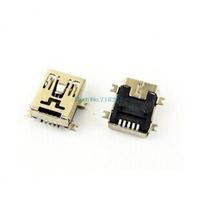 Free shipping 10pcs/lot Mini USB B female socket SMD 5 Pin 5P Female Plug Connector Socket 5-Pin Female Mini B USB SMD Connector