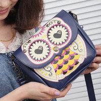 2014 New handbags cute cartoon owl bag hit the color packet Shoulder Messenger Bag