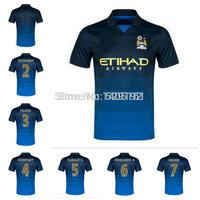 Hight Product Thailand Quality Nasri Dzeko Kun Aguero Dark Blue Jerseys 14-15 Soccer Jersey 2014-2015 Away Jersey