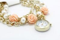 Dot Rose Flower GENEVA Women Casual Watch 2014 New Fashion Green Watch Hot Sales Floral Quartz Watches for Women