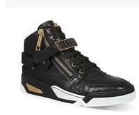 Hot 2014 black Men sneakers genuine leather animal print Men's fashion High top causal shoe street style