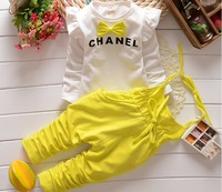 The new autumn 2014 Han edition 100%Cotton straps suit childrens 2 piece A175