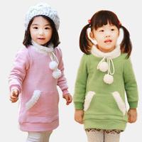 2014 Girl Dress princess Dresses thicken fleece warm fluffy ball pocket kid clothing children wear clothes