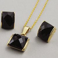 Fashion Mini Women White/Black Jewelry Set Semi-precious stone Earring/Necklace Rectangular Shaped Stainless Steel Free Shipping