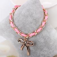 pink bowknot  charm bracelet young girl bracelet party bracelet club bracelet