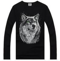 4M312 Free shipping 2014 Fashion Casual Sport Long sleeve Men T shirt Famous Brand Cotton o-neck Tops Men T-shirt wolf 3d print