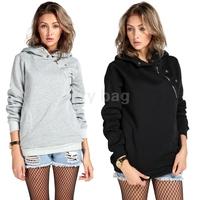 New Autumn-Winter Korean Hoody Girls Casual Sport Hooded Coat Pullover Women Fashion Hoodies Sweatshirt Black/White/Gray