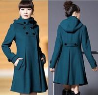 2014 autumn new women in Europe and America big yards temperament woolen coat collar stitching
