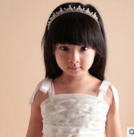 Children's hair accessories pearl rhinestone crown the little princess flower girls crystal shining headbands hairbands