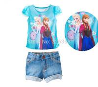 1 set  baby girls princess Elsa Anna short sleeve T-shirt+denim shorts 2pcs set/Children Summer cartoon suit/Frozen clothing set