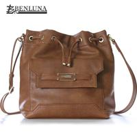 Hot Sale Women Brand Brown Vintage Leather Bucket Bags Shoulder Bags Messenger Bags  Fashion Casual Unique Design Ladies Bags