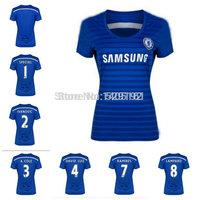 Hight Product Thailand Quality Women's 14/15 Fabregas Diego Costa Oscar Blue Home Jerseys Soccer Jersey 2014-2015 Jersey