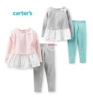 Retail,Carters Original Baby Girls 2-Piece Peplum Top & Legging Set  ,Baby Girls Lovely Clothing Set Free Shipping IN STOCK