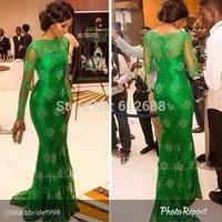 2015 Fashion Scoop vestido de festa A-line Lace Full Sleeve Floor Length Long See Through Green Elegant Evening Dress