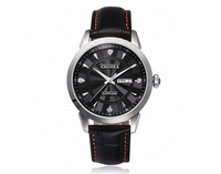 CALUOLA Smooth Dial Stick/Diamond Markers Silver Case Black Leather Strap Quartz Men's Watch Black White Golden