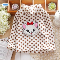 4pc/lot baby Winter t shirt cat girls Clothes Kids pullover dots velvet children thicken Outerwear wholesale PANYA DJS19
