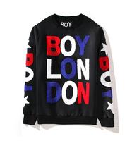 BOY LONDON Hoodies flocking color letters velvet fleece fashion leisure brand with Fleece MENS Boy LONDON Sweatshirts B120