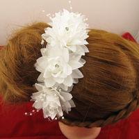 Fashion Women Wedding Bridal White Hairband Headband Crystal Flower Hair Clips Hair Accessory Free Shipping