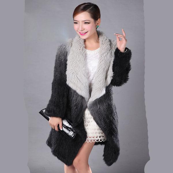 Free Shipping 2014 Winter Women's Genuine Rabbit Fur Coat Lady Natural Knit Rabbit Fur Outerwear Real Fur Garment FL009(China (Mainland))