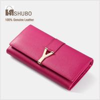 SHUBO European and American Y Brand Wallets 2014 Fashion Women Genuine Leather Clutch Cowhide Purse Wallet Long Design SW011