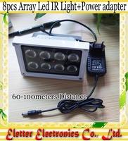 Outdoor Waterproof illuminator infrared lamp 8pcs Array Led IR Light 850nm for CCTV Camera + Power adatper Free shipping