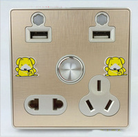 USB Multifunctional charging wall socket  international 10A
