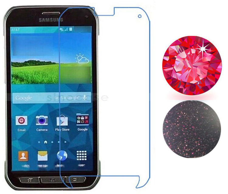 Noblest Ruby Red Diamond Screen Protector For Samsung Galaxy S5 Active G870 Royal Sparkling Crystal Protective Film Sticker(China (Mainland))