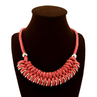 Free shipping 2014 fashion candy-colored rope knitted choker necklace woven ladies chunky necklace
