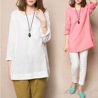 2014/ autumn, new, fashion round neck t-shirt long sleeved linen jacket M-XXXL free shipping14125