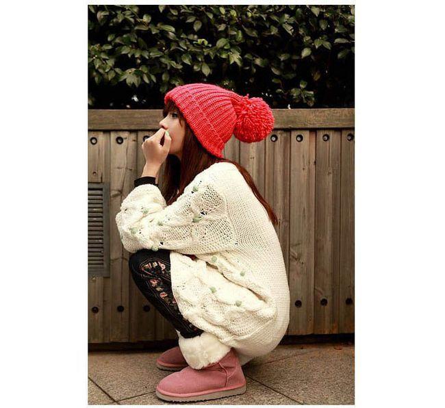 2015 Women Fashion Warm Knit Hat Winter Knitting Slouch Big Ball Beanie Cap Casual Ski Cap Skull Warmer Free Ship(China (Mainland))